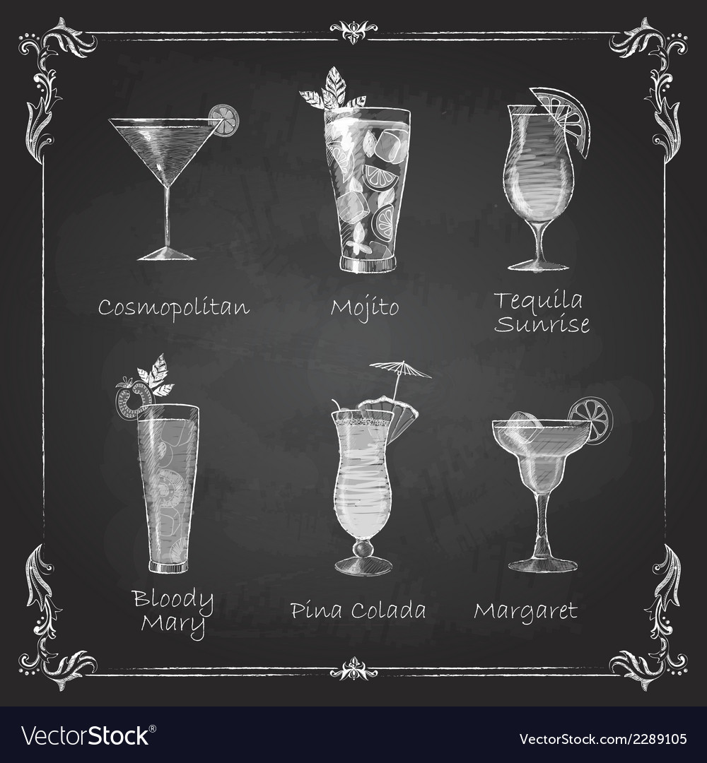 Chalk drawings cocktail menu vector | Price: 1 Credit (USD $1)