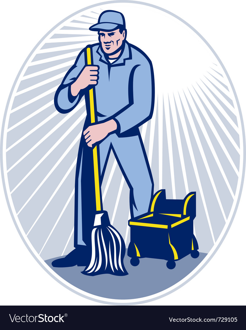 Cleaner janitor vector | Price: 1 Credit (USD $1)