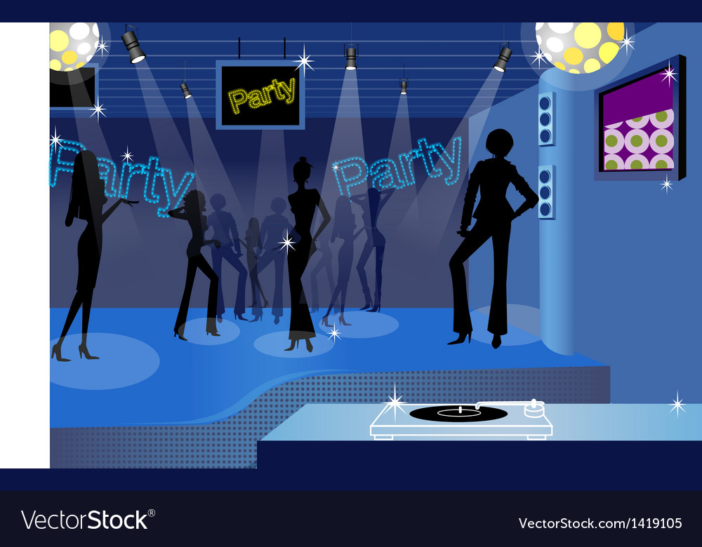 Dancing people in a disco vector | Price: 1 Credit (USD $1)