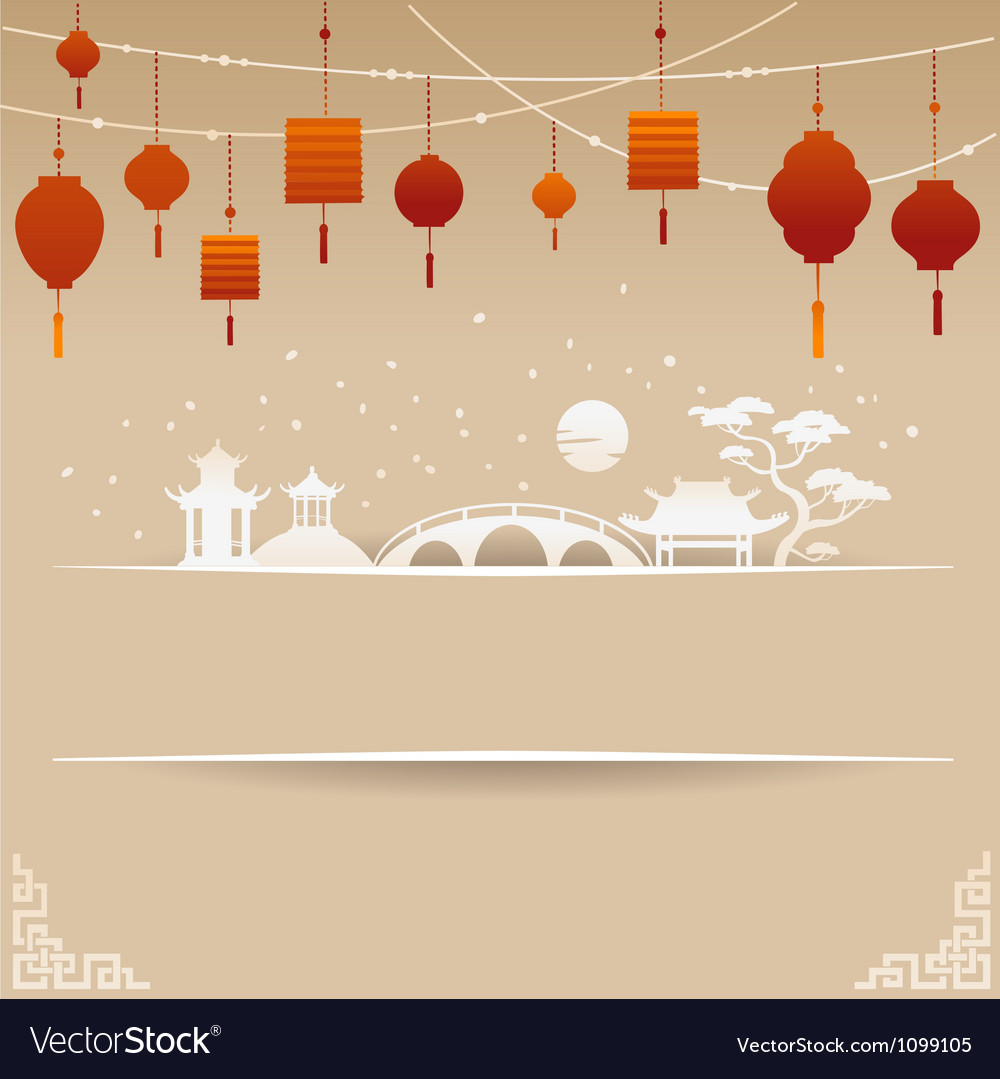 Decorative chinese background with red lamp and sn vector | Price: 1 Credit (USD $1)