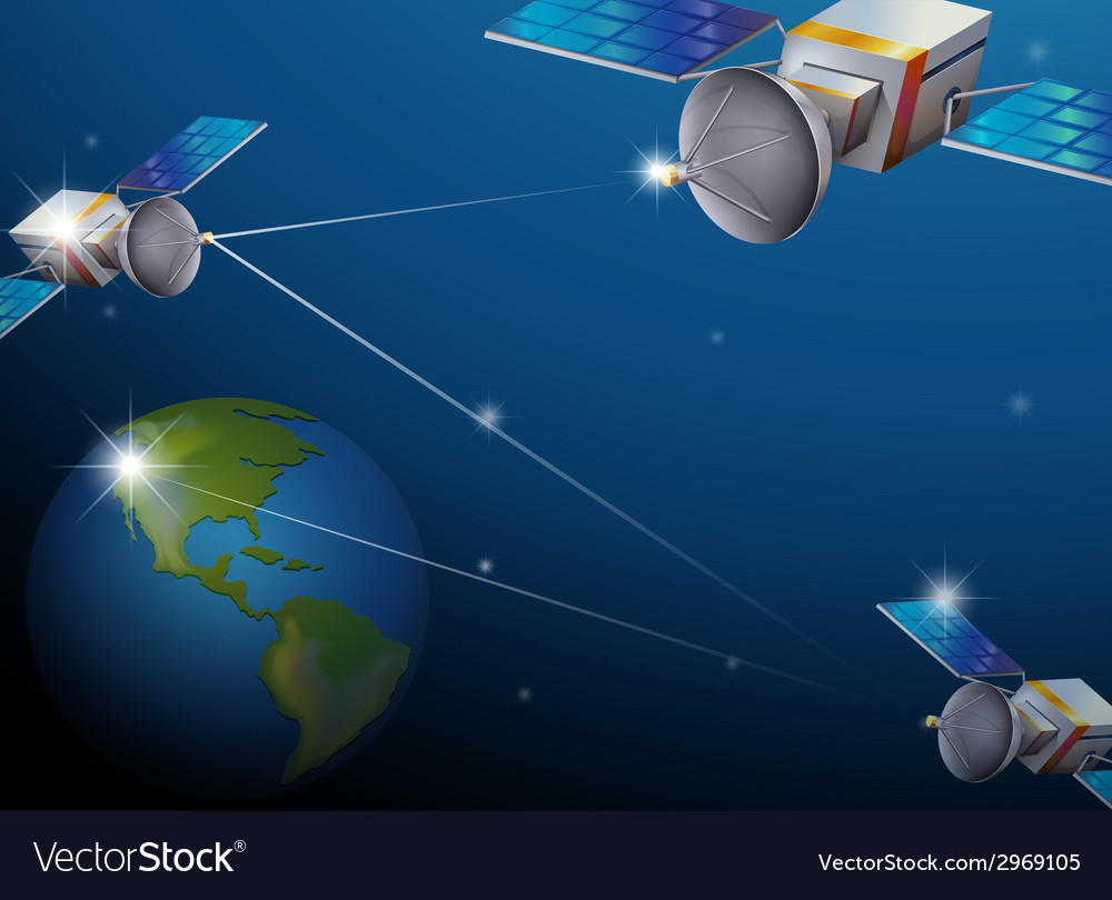 Earth and satellites vector | Price: 1 Credit (USD $1)