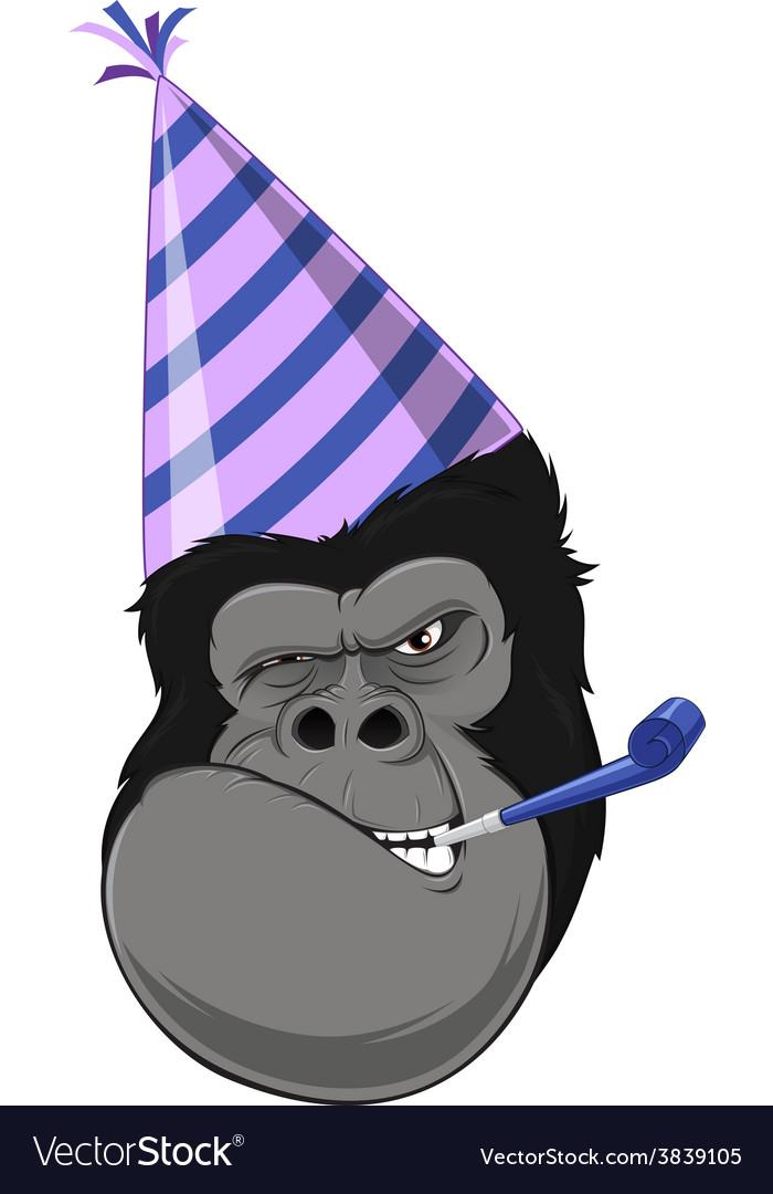 Gorilla head with hat vector | Price: 3 Credit (USD $3)
