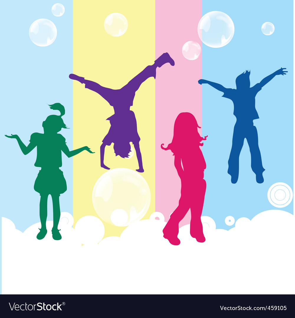 Happy kids on colored background vector | Price: 1 Credit (USD $1)