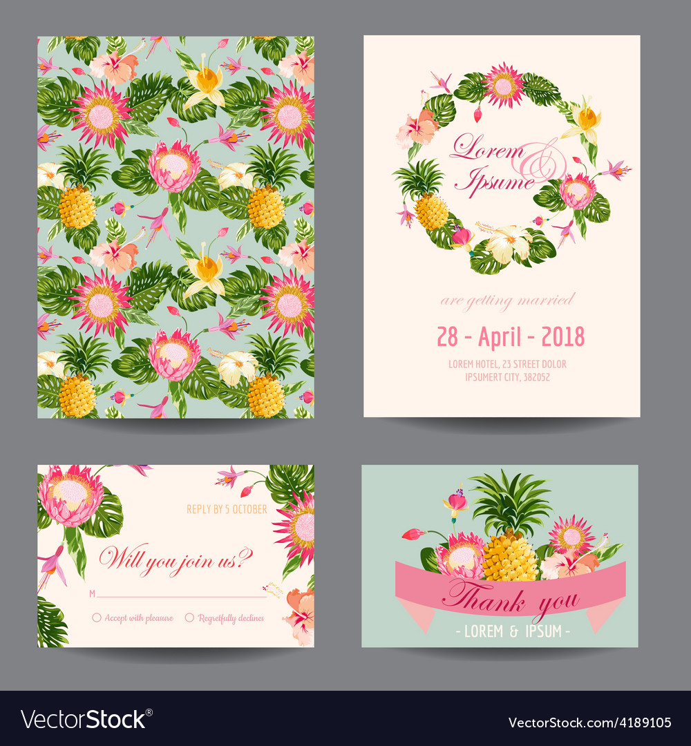 Invitationcongratulation card set vector