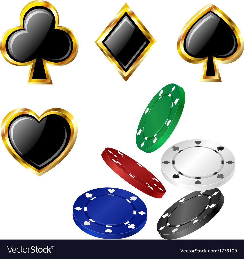 Poker card icon and chip set vector | Price: 1 Credit (USD $1)
