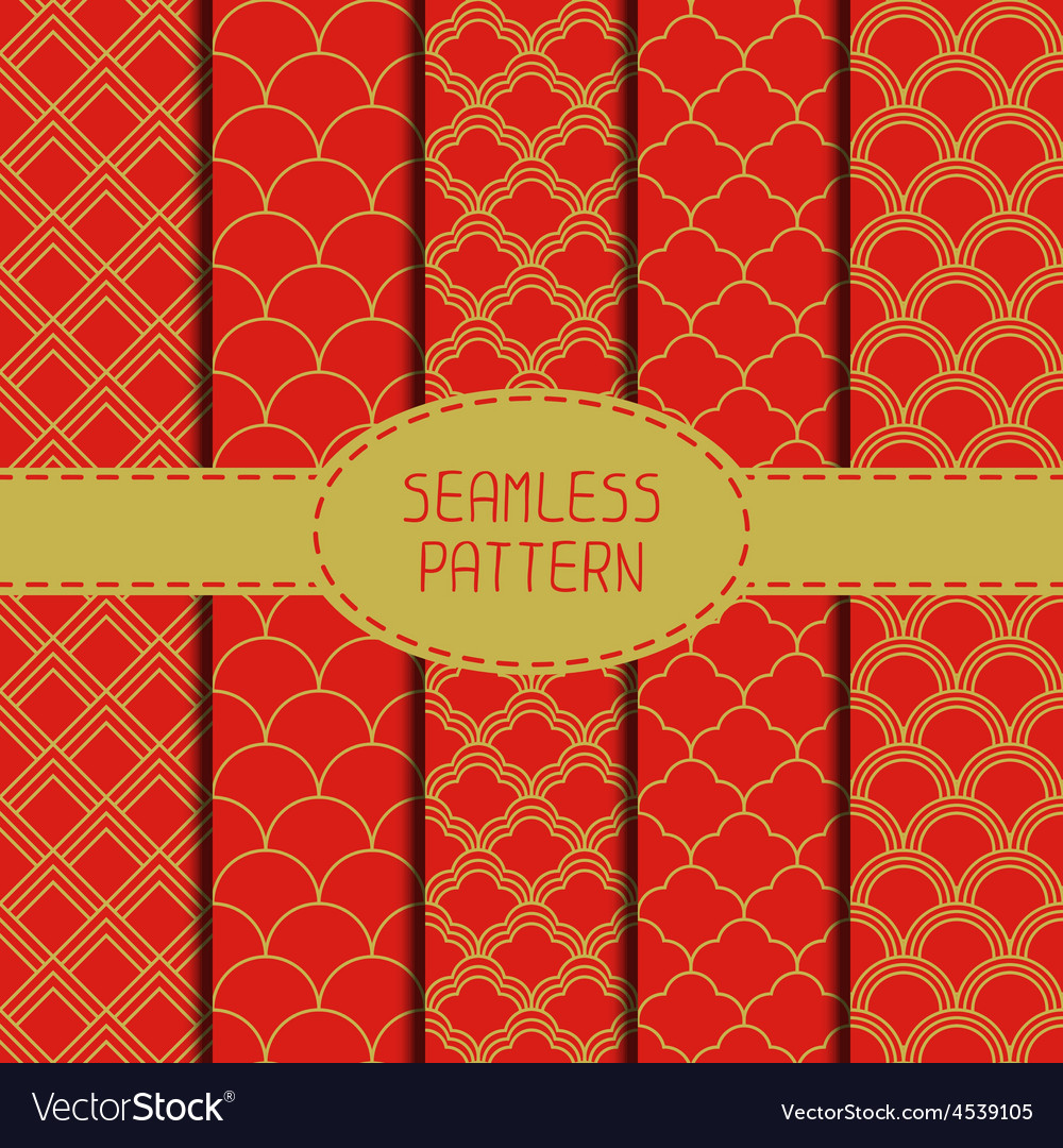 Set of geometric national chinese seamless pattern vector | Price: 1 Credit (USD $1)