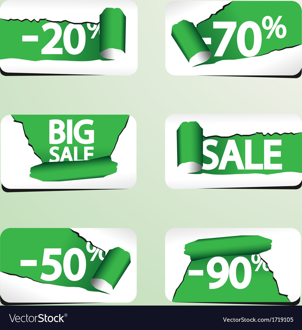 Set of paper stickers for stock sales vector | Price: 1 Credit (USD $1)