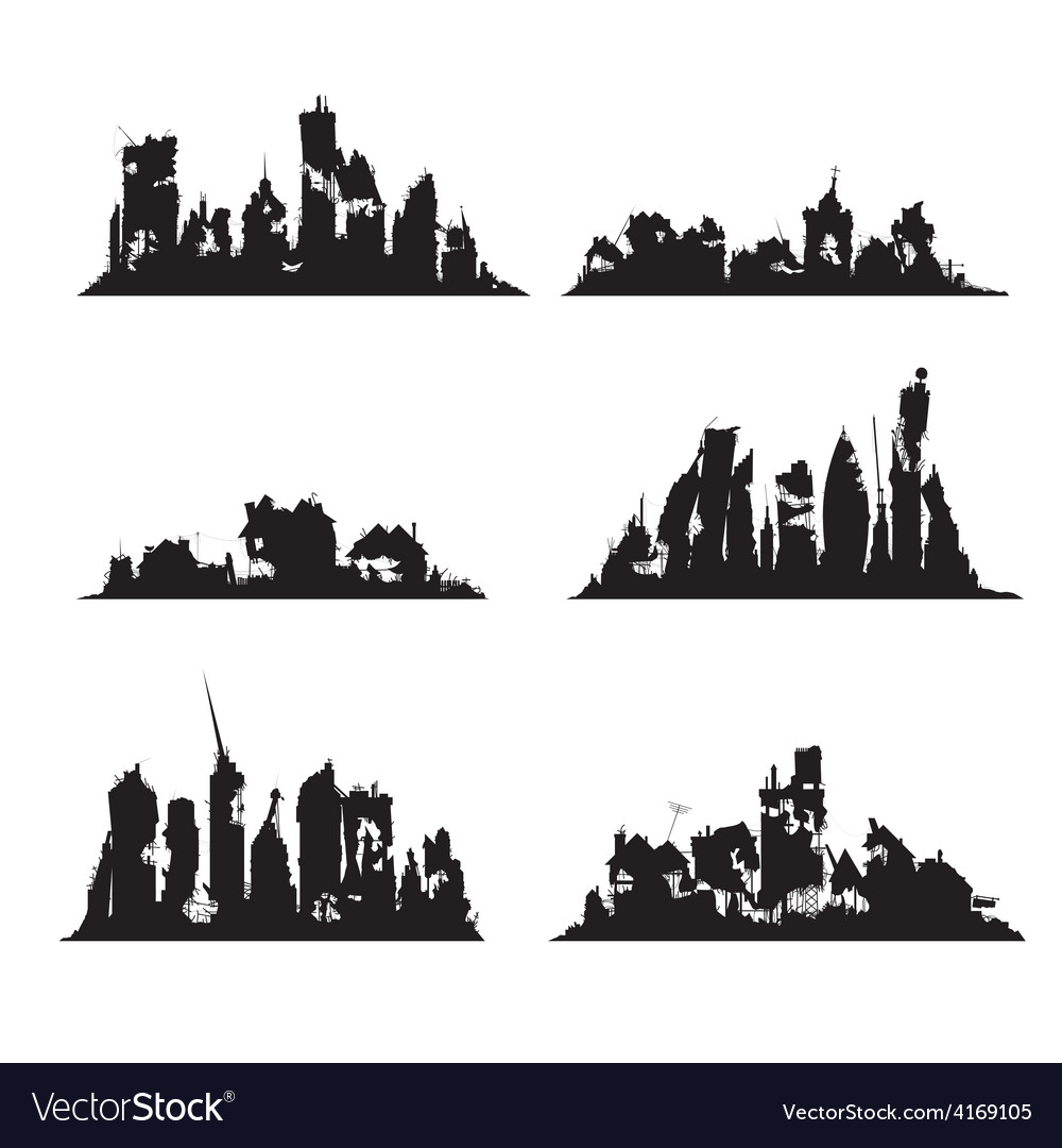 Silhouettes destroyed cities vector | Price: 1 Credit (USD $1)