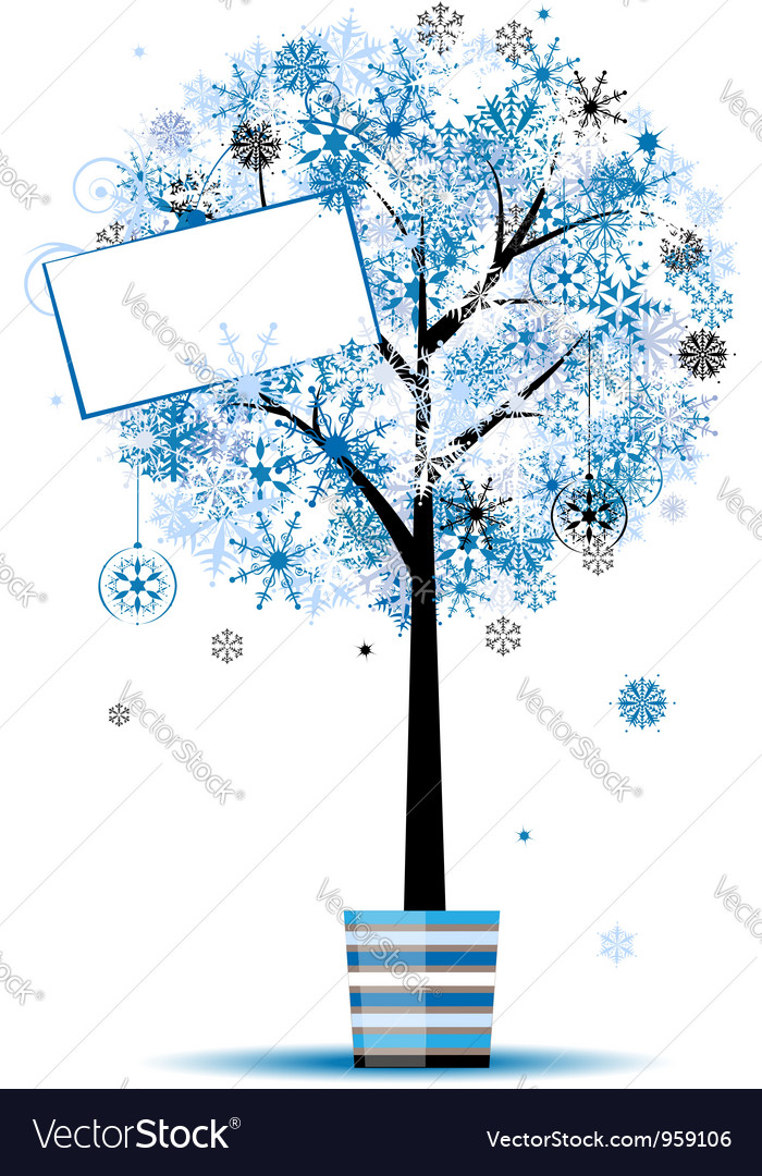 Beautiful winter tree in pot for your design vector | Price: 1 Credit (USD $1)