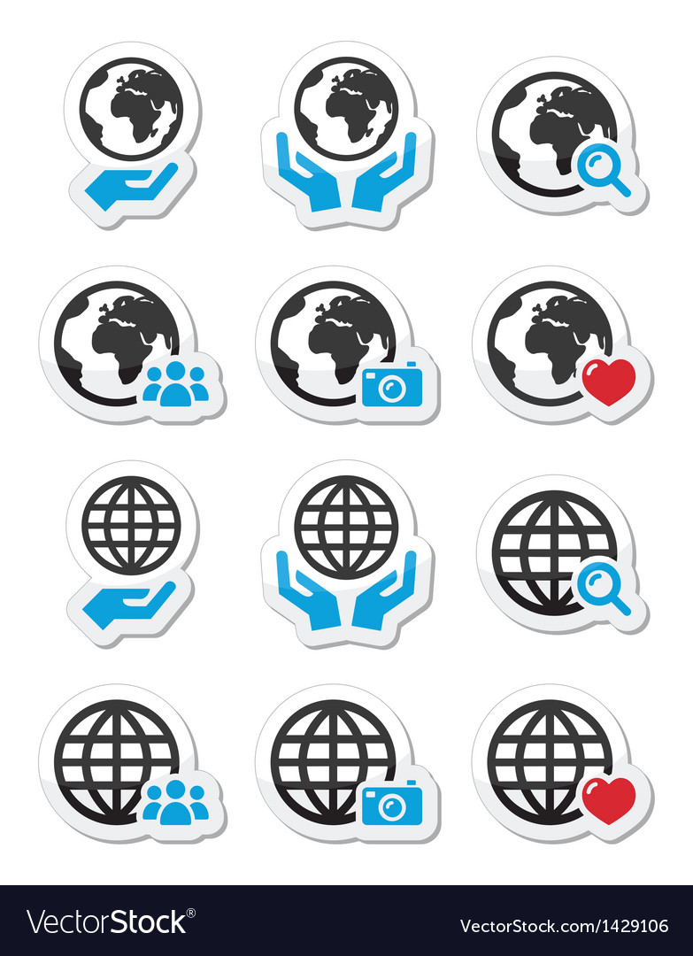 Globe earth with hands icons set vector | Price: 1 Credit (USD $1)