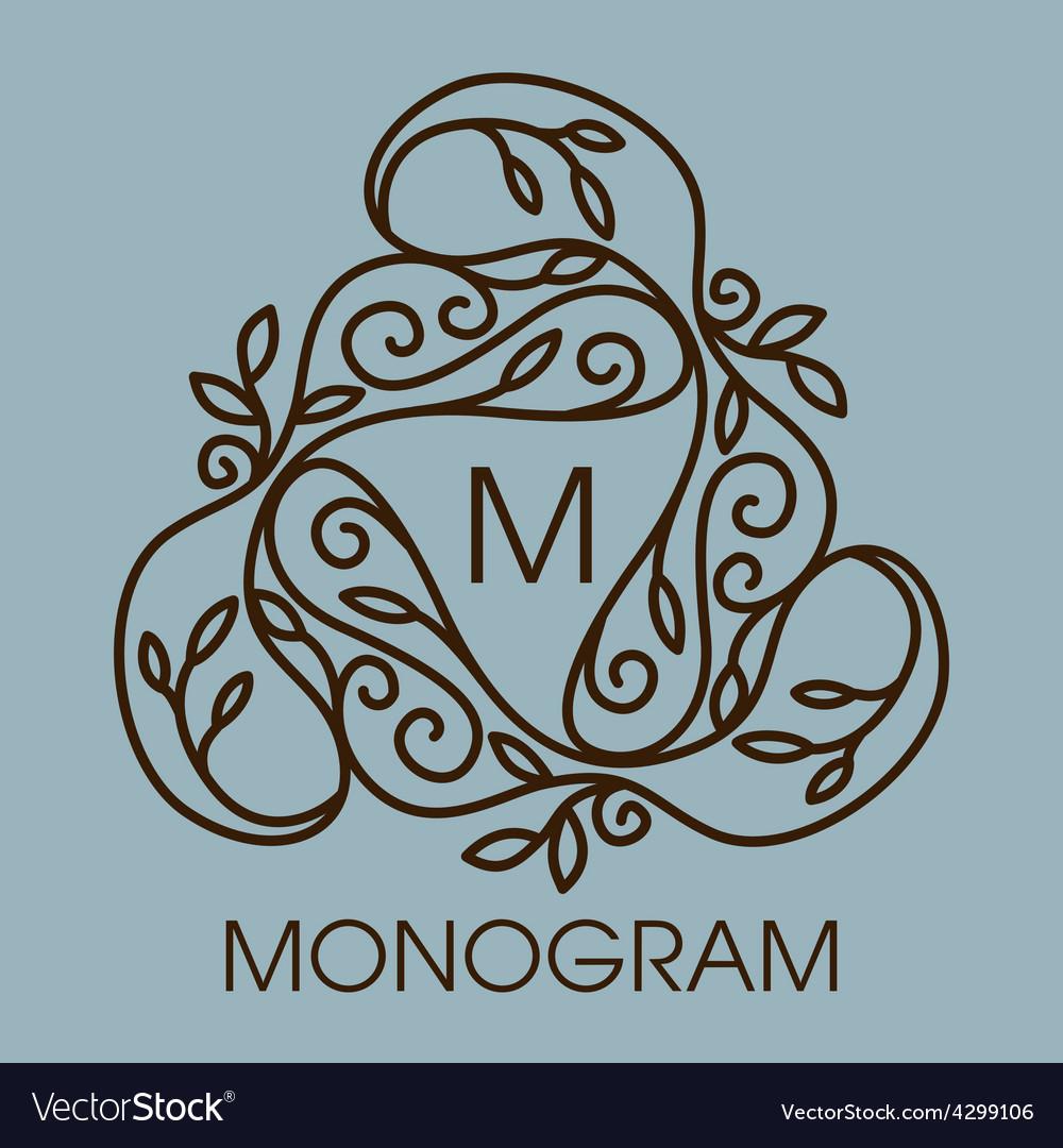 Monogram design floral outline frame or vector   Price: 1 Credit (USD $1)