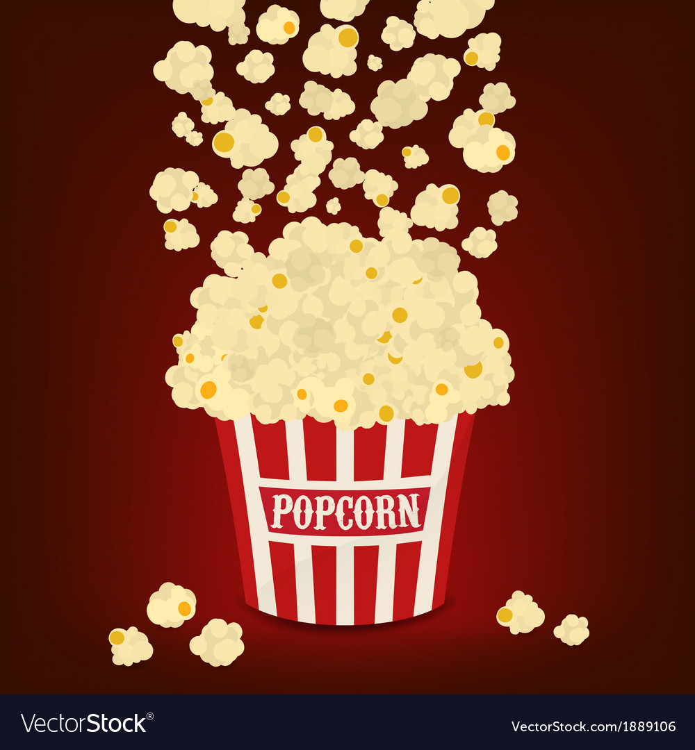 Popcorn falling in the striped popcorn bag vector | Price: 1 Credit (USD $1)