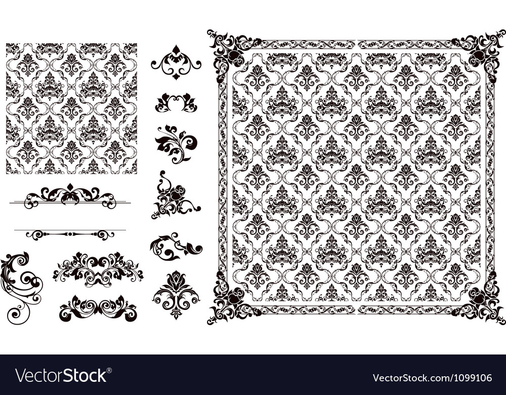 Seamless pattern and design elements vector | Price: 1 Credit (USD $1)