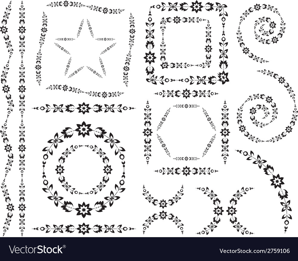 Set of decorative elements and brush vector | Price: 1 Credit (USD $1)