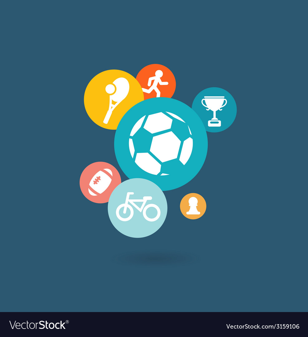 Sport composition of icons vector | Price: 1 Credit (USD $1)