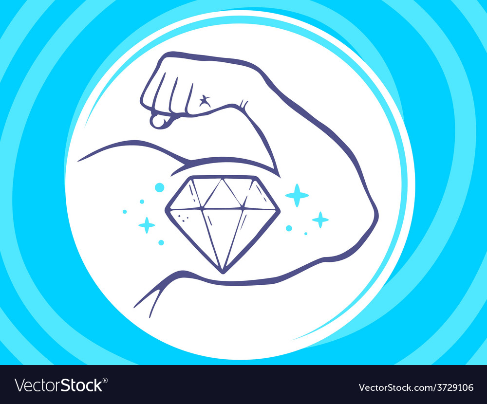 Strong man hand with icon of diamond on vector | Price: 1 Credit (USD $1)