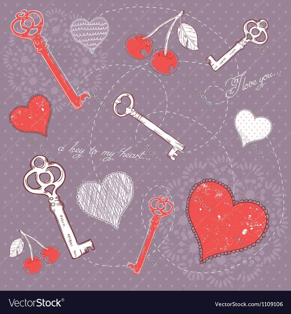 Valentine romantic love card with key to heart vector | Price: 1 Credit (USD $1)