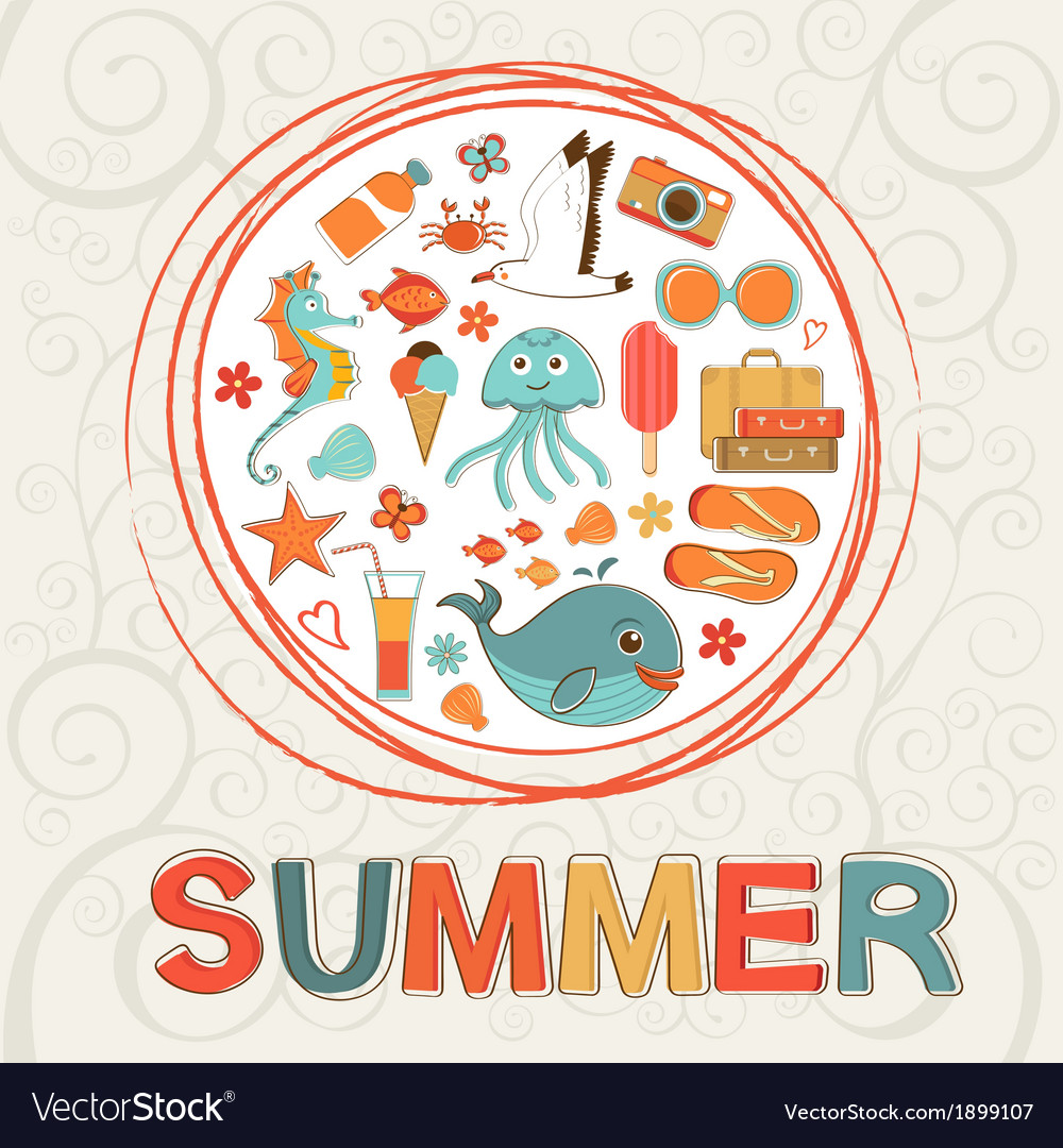 Colorful summer composition vector | Price: 1 Credit (USD $1)