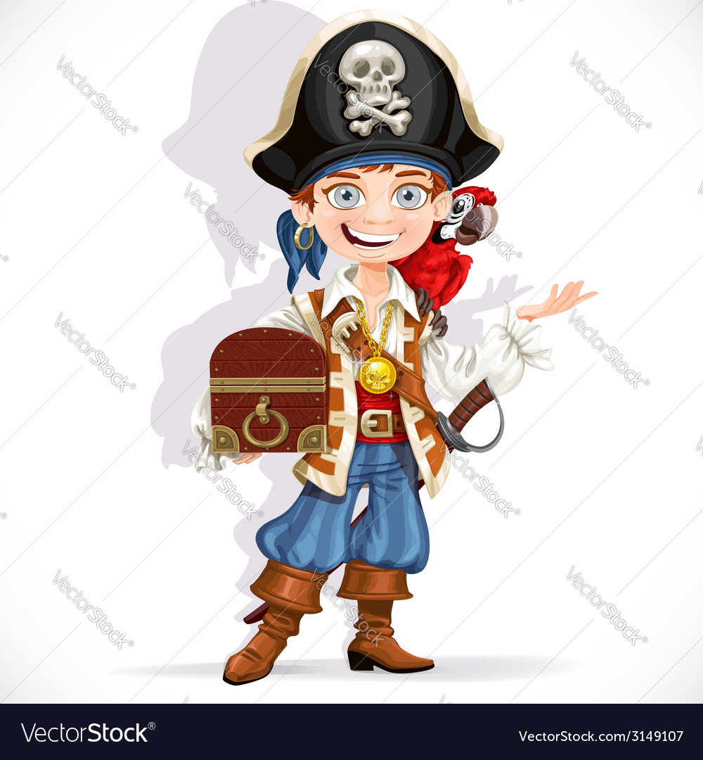 Cute pirate boy with red parrot hold treasure vector | Price: 3 Credit (USD $3)