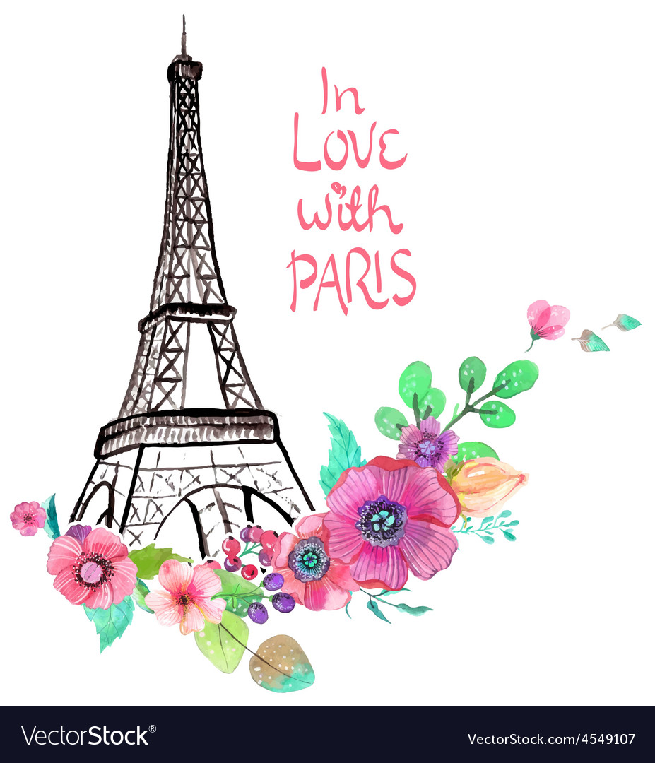 Eiffel tower with watercolor flowers vector