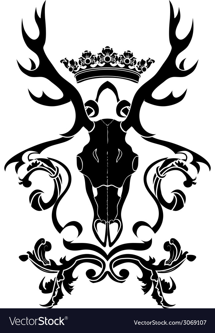 Emblem heraldic symbol with deer skull and crown vector | Price: 1 Credit (USD $1)
