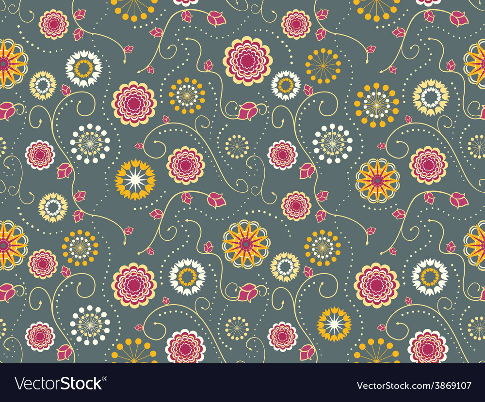Floral textile seamless pattern vector | Price: 1 Credit (USD $1)