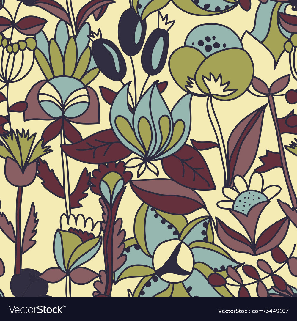 Flower seamless texture endless floral pattern can vector | Price: 1 Credit (USD $1)