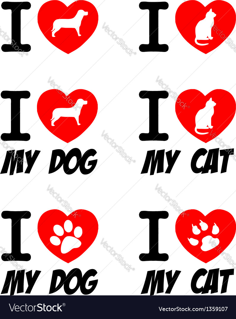 I love dog and cat signs collection vector | Price: 1 Credit (USD $1)