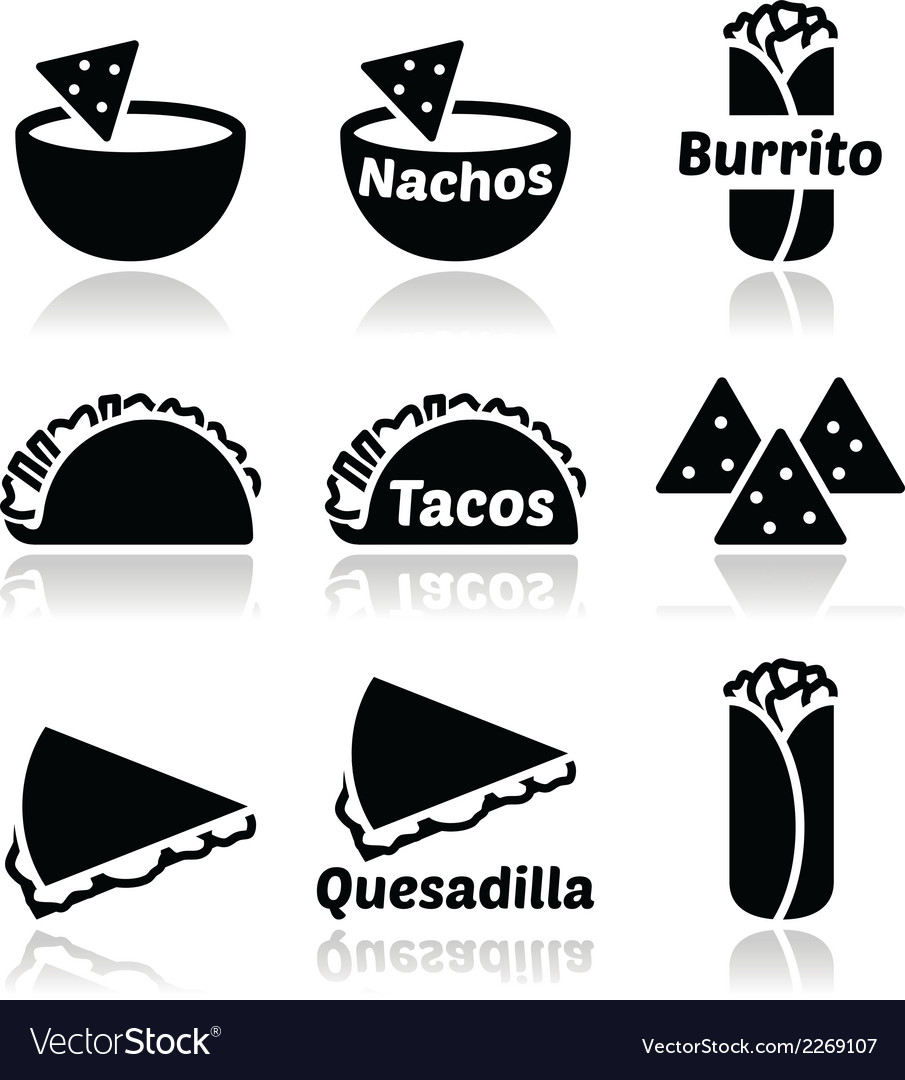 Mexican food icons - tacos nachos burrito quesa vector | Price: 1 Credit (USD $1)