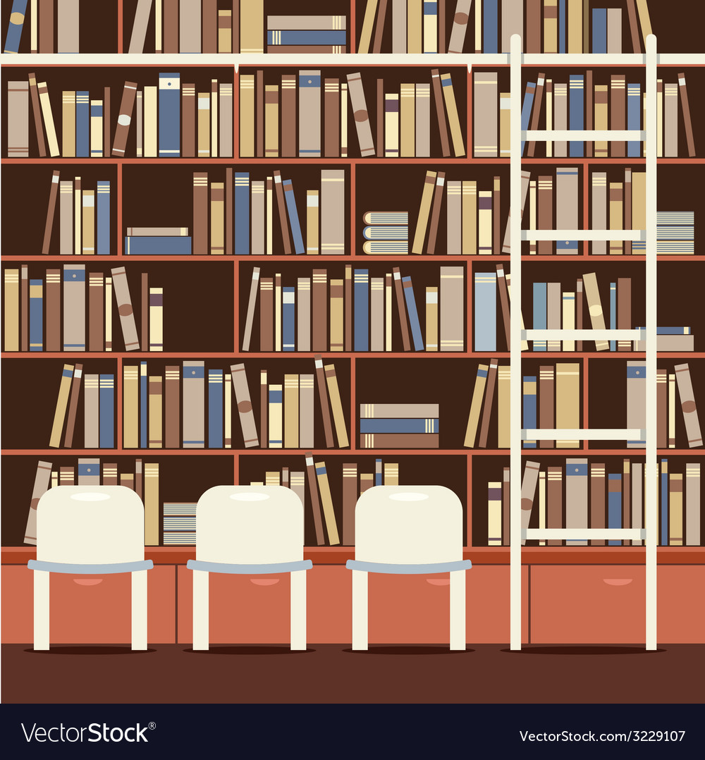Reading seat in front of a huge bookcase vector | Price: 1 Credit (USD $1)
