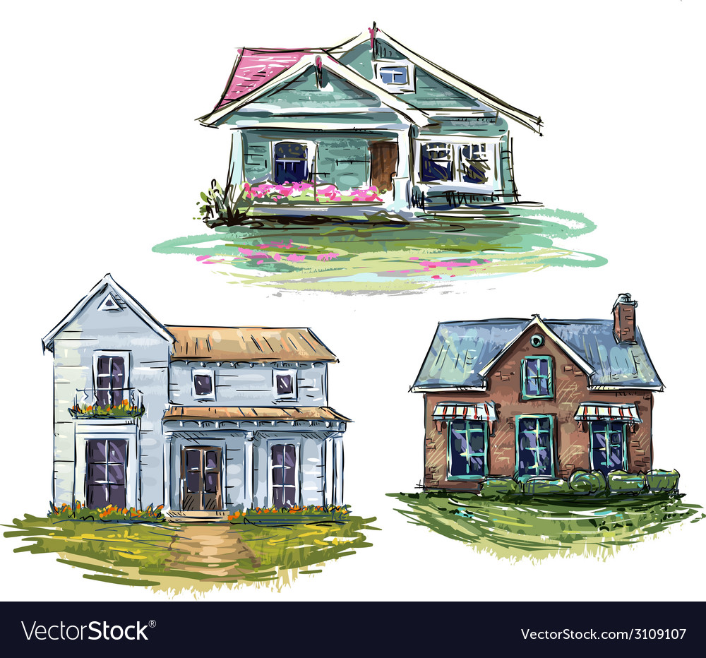 Set of private houses vector | Price: 1 Credit (USD $1)