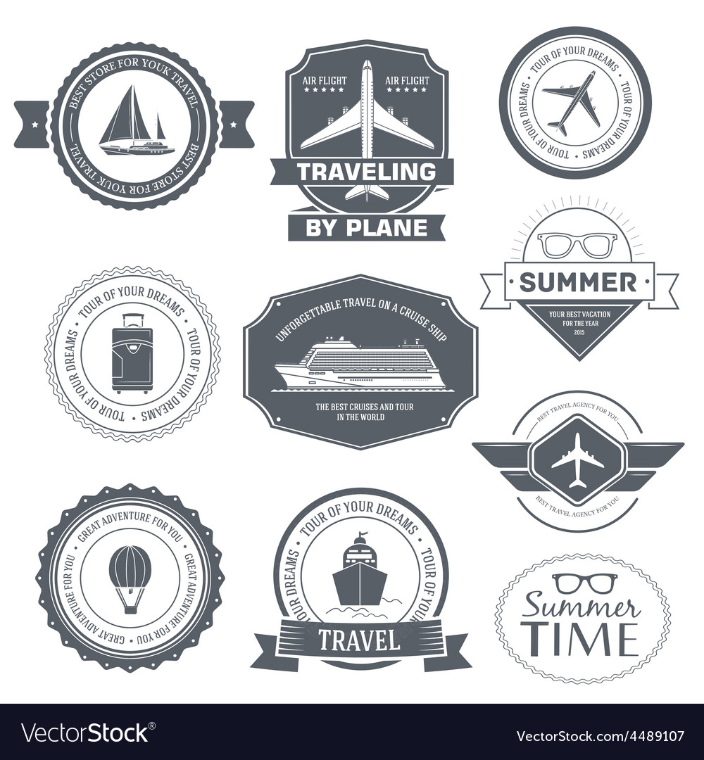 Travel set label template of emblem element for vector | Price: 1 Credit (USD $1)