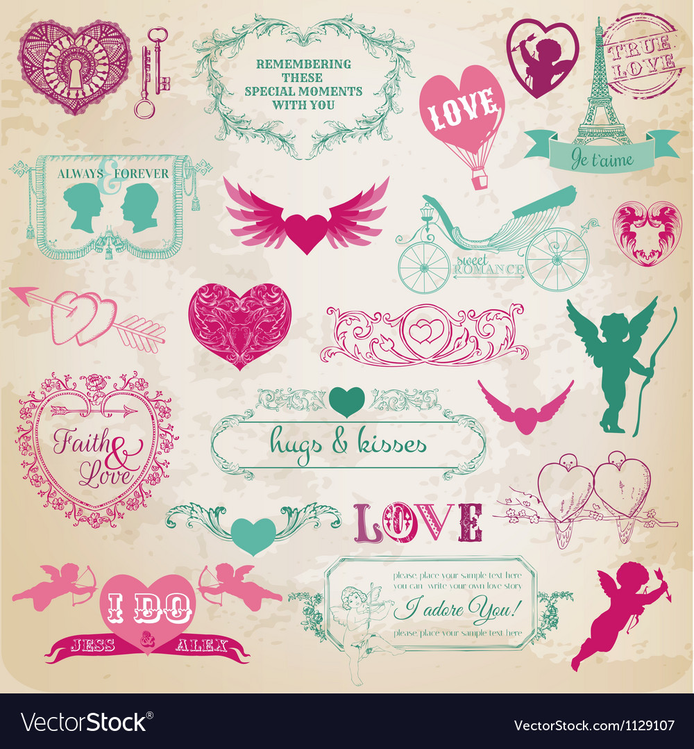 Valentines day love set vector | Price: 1 Credit (USD $1)