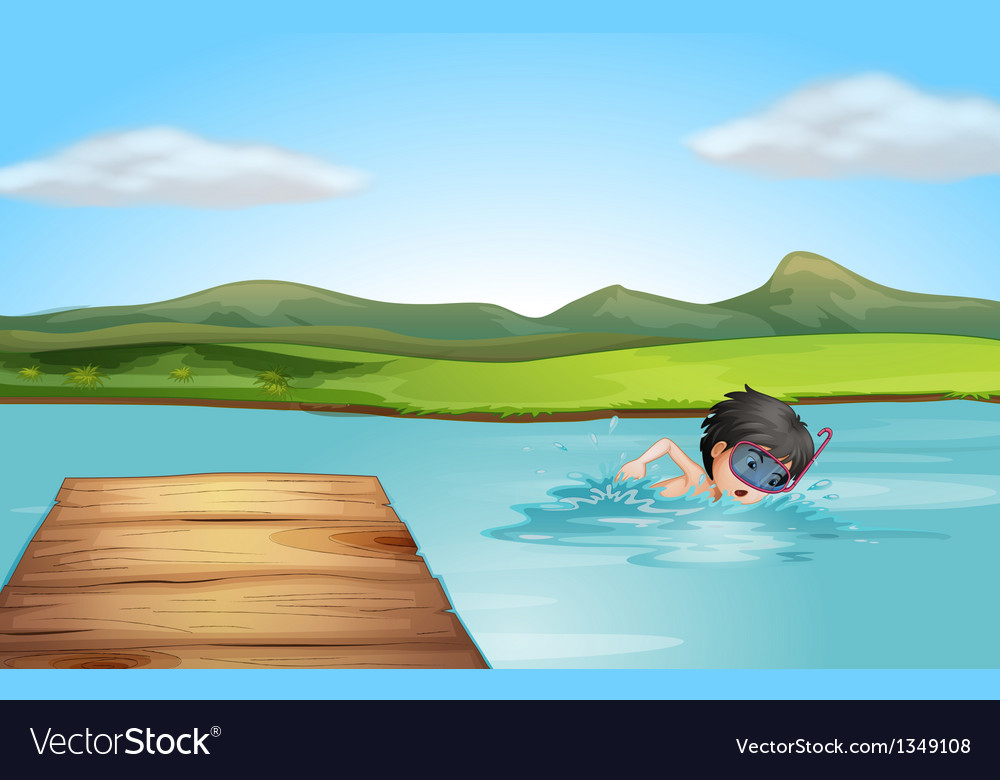 A young swimmer practicing vector | Price: 1 Credit (USD $1)