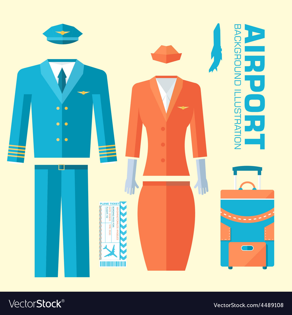 Airplane pilot and stewardess uniform on flat vector | Price: 1 Credit (USD $1)