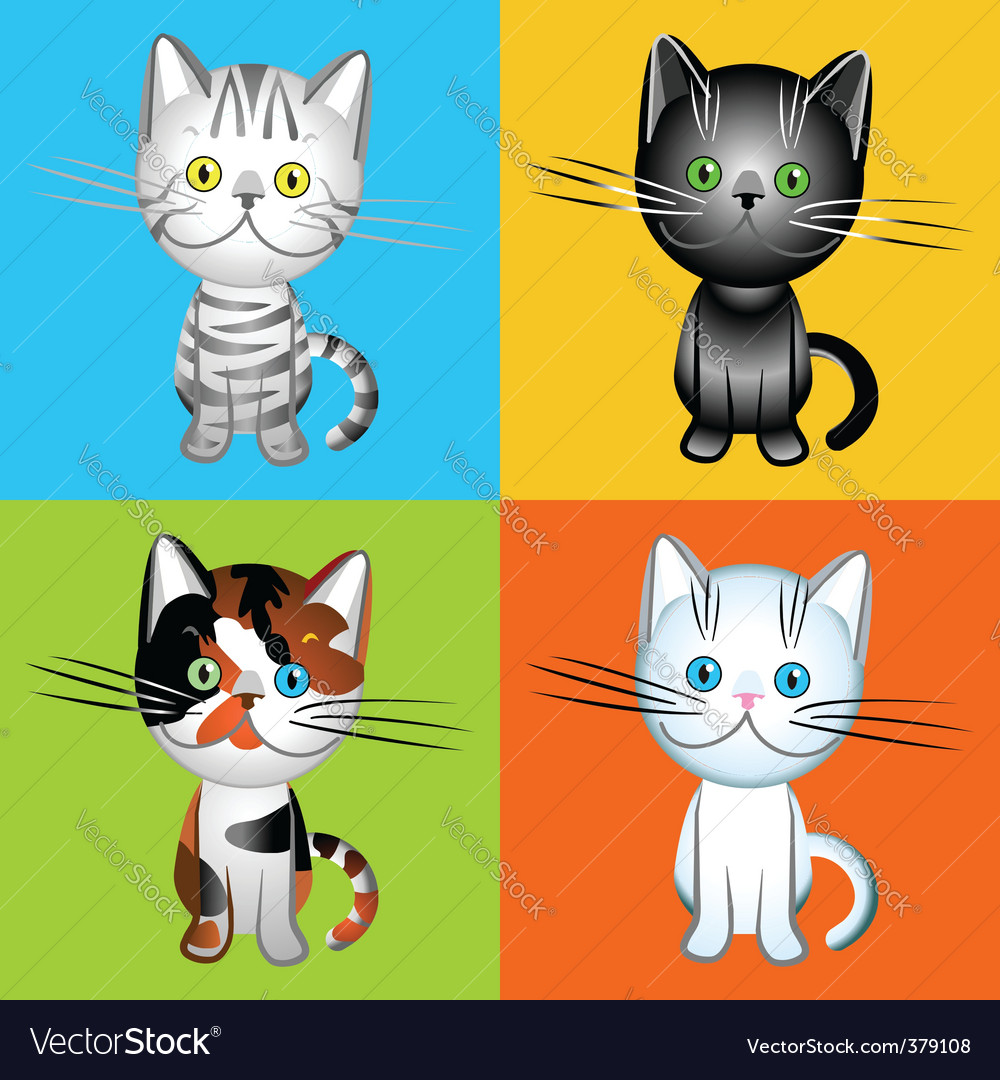 British cats of various colors vector | Price: 1 Credit (USD $1)