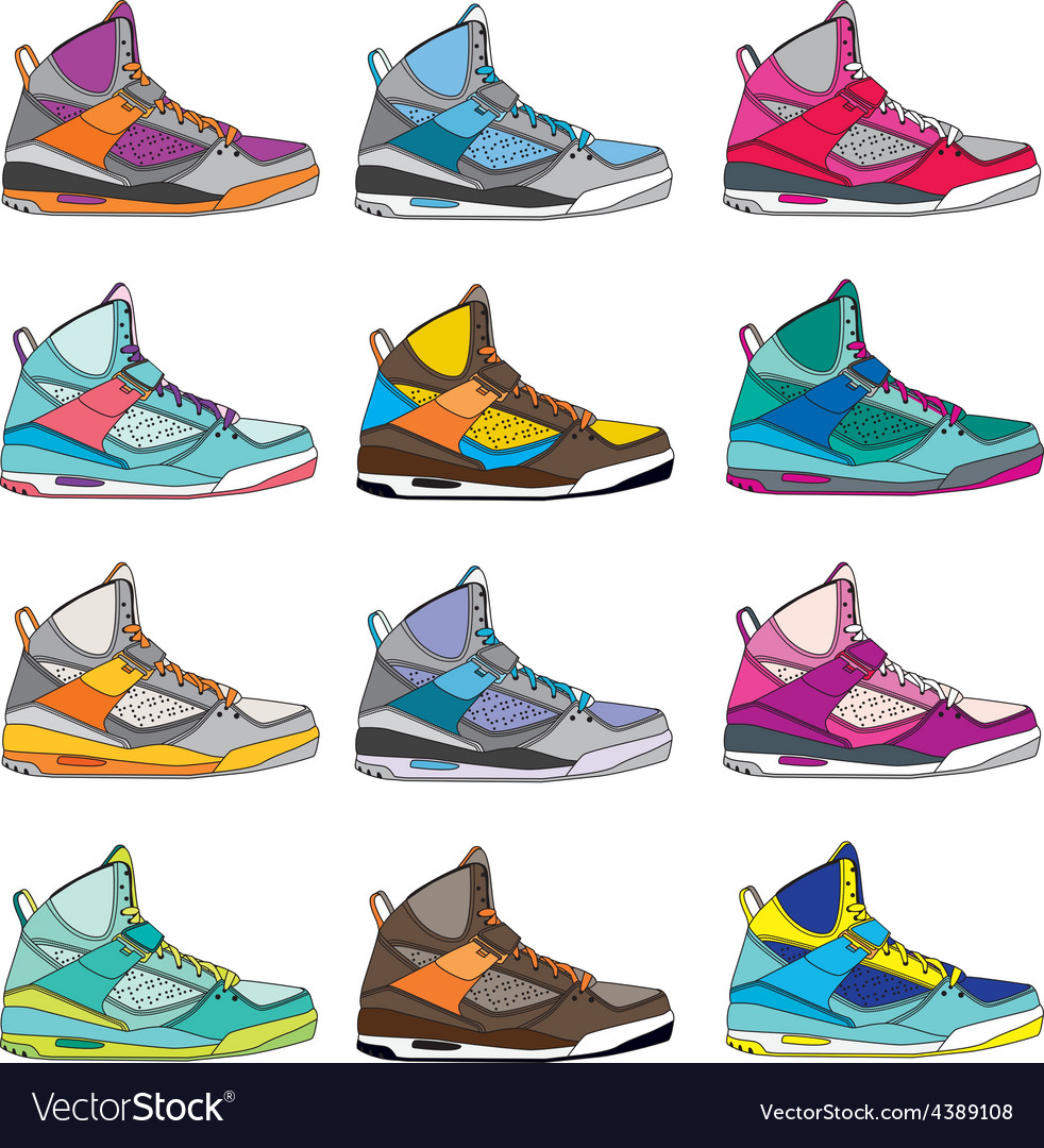 Colorful sneaker set vector | Price: 1 Credit (USD $1)