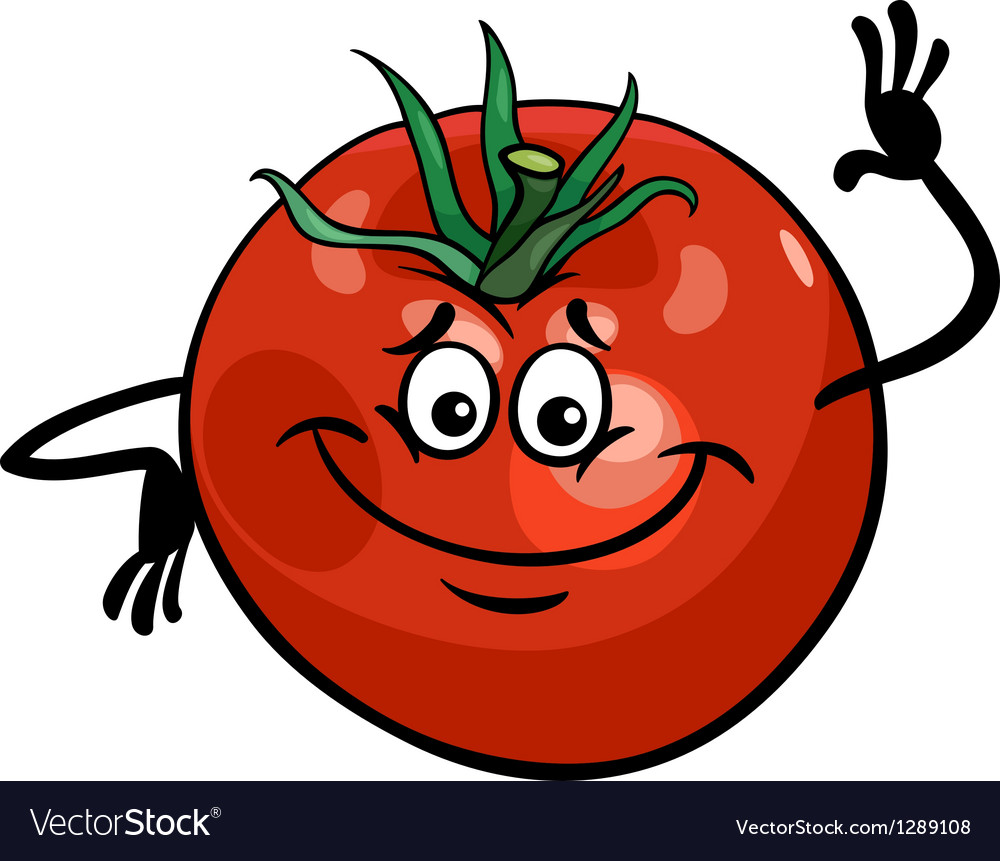 Cute tomato vegetable cartoon vector | Price: 1 Credit (USD $1)