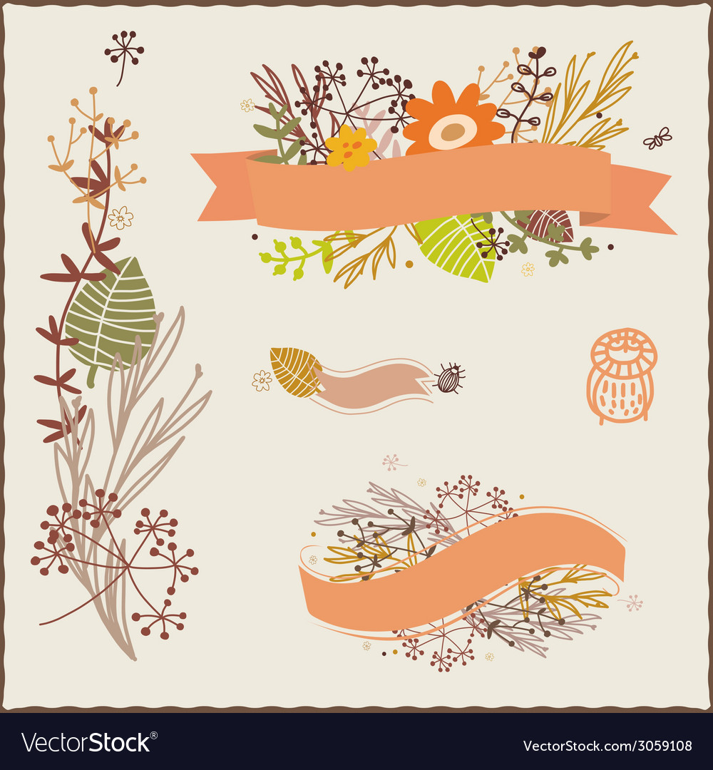 Floral autumn compositions vector | Price: 1 Credit (USD $1)