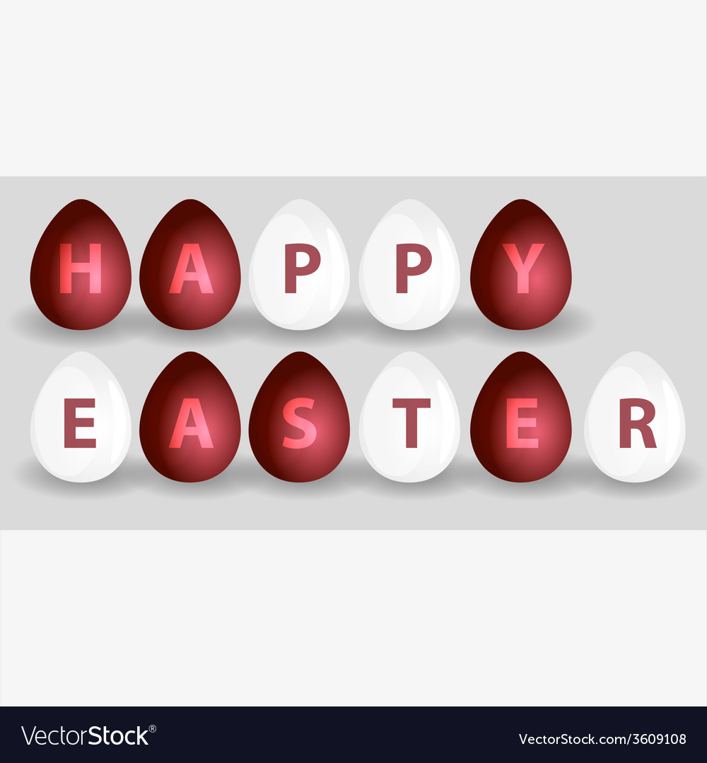 Happy easter from red and white eggs eps10 vector | Price: 1 Credit (USD $1)