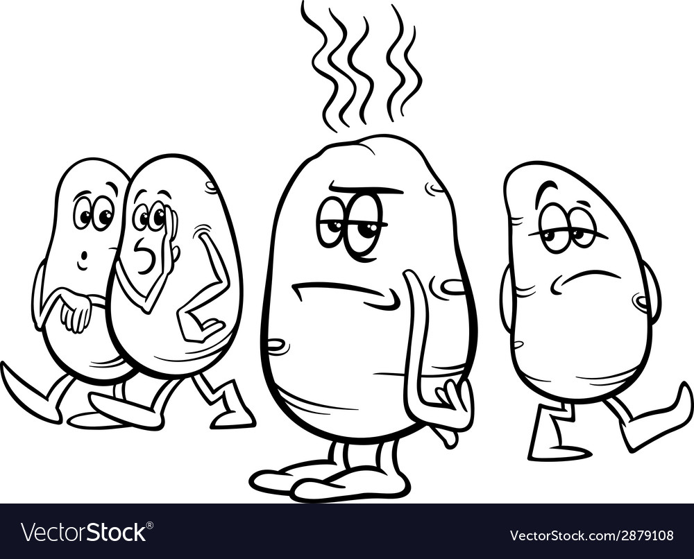 Hot potato saying coloring page vector | Price: 1 Credit (USD $1)