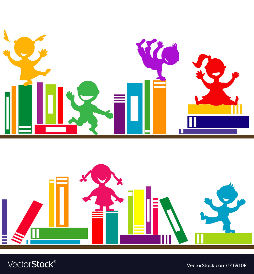 Kids playing books shelves vector | Price: 1 Credit (USD $1)
