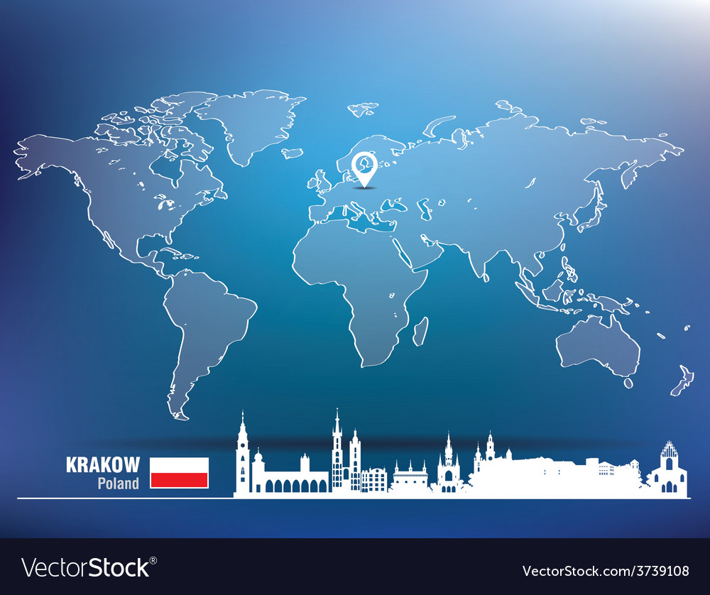 Map pin with krakow skyline vector | Price: 1 Credit (USD $1)
