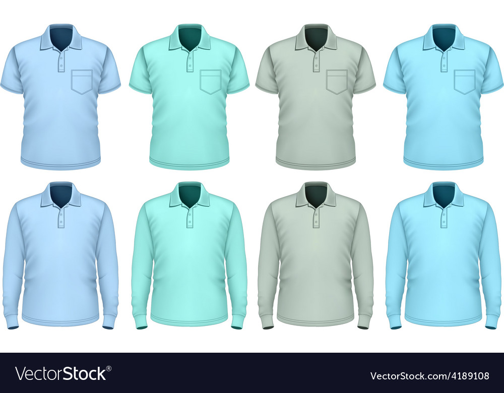 Men polo-shirt shades of blue vector | Price: 1 Credit (USD $1)