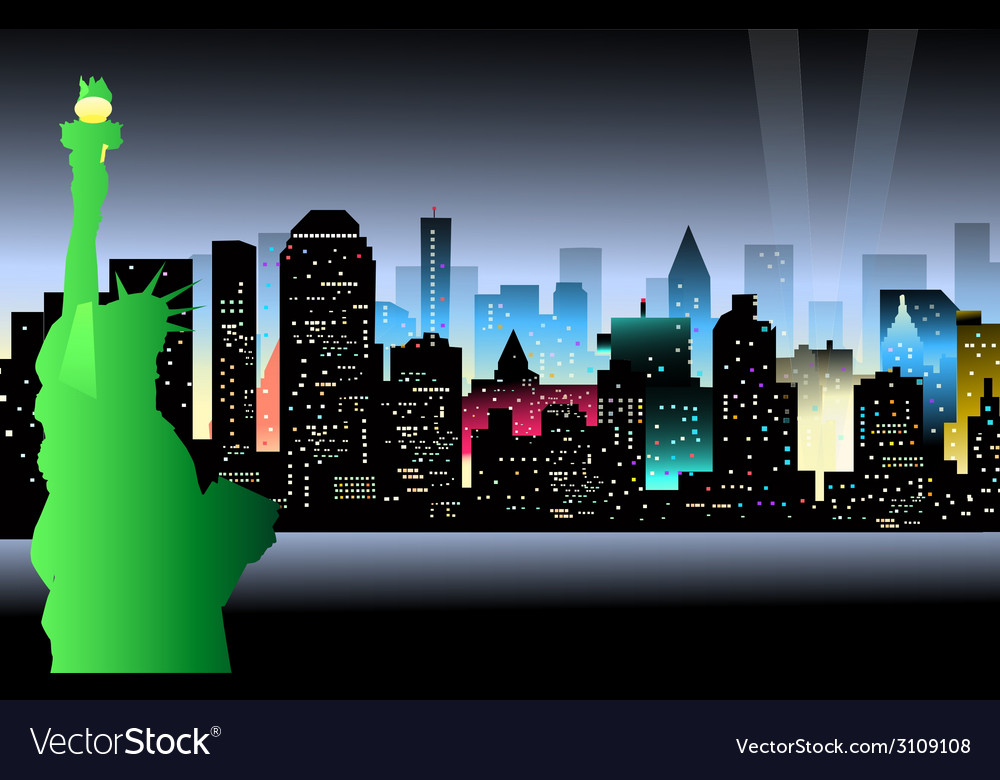 New york at night and statue of liberty vector | Price: 1 Credit (USD $1)