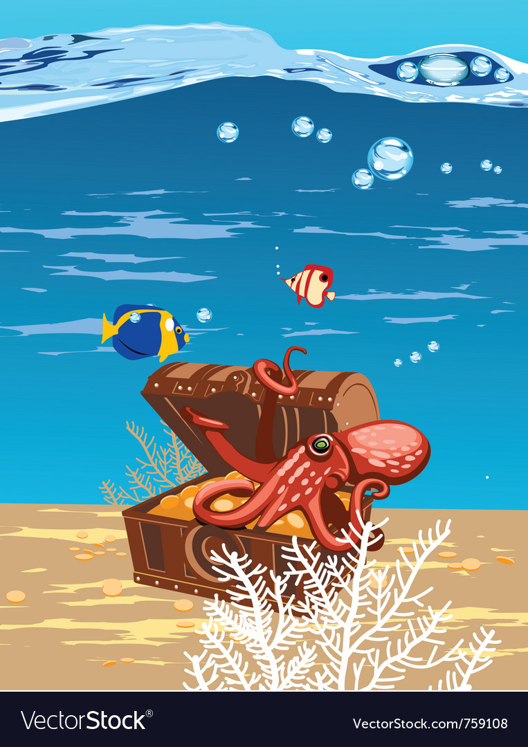Octopus in the sea in a chest of treasures vector | Price: 3 Credit (USD $3)