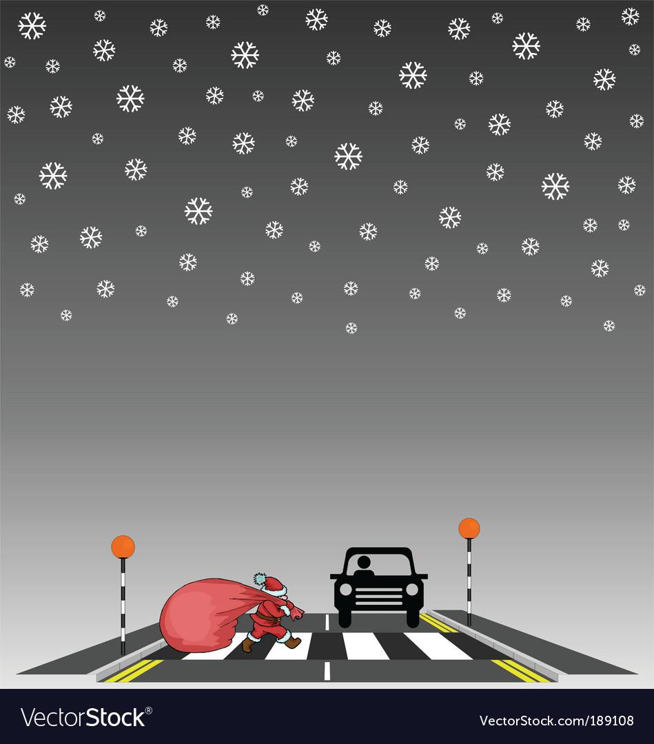 Santa crossing vector | Price: 1 Credit (USD $1)