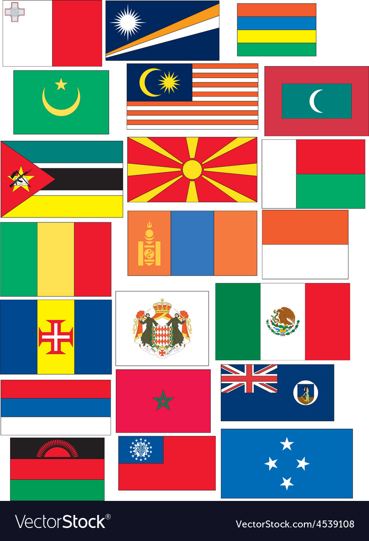 Set of 21 flags countries started with m vector | Price: 1 Credit (USD $1)