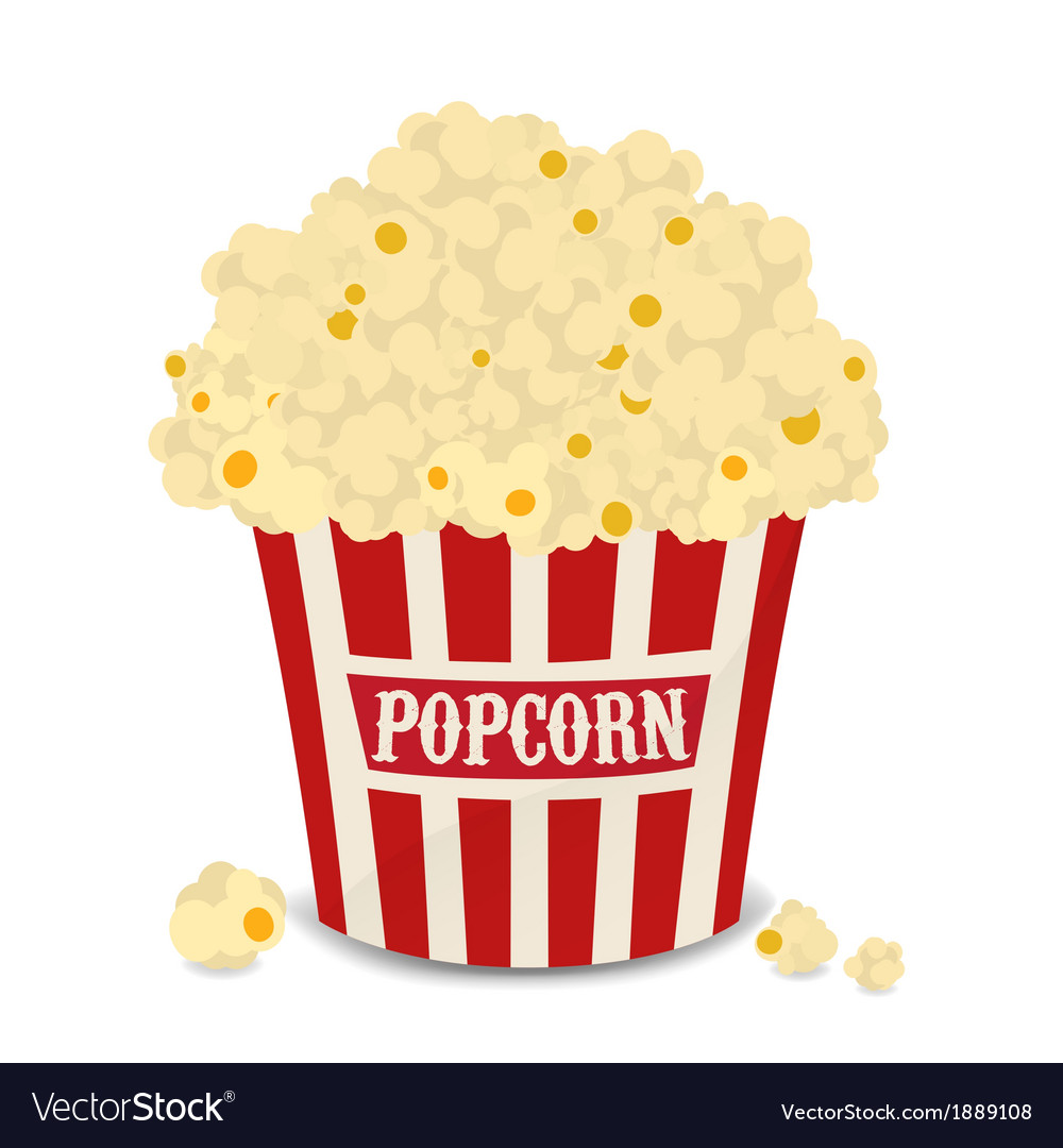 Striped bag of popcorn isolated on white vector | Price: 1 Credit (USD $1)