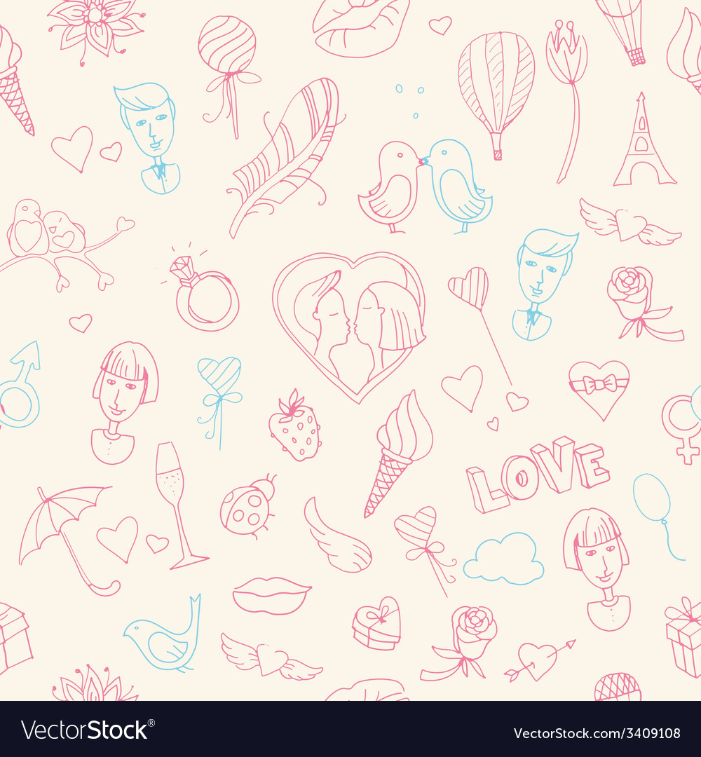 Valentines day seamless pattern sketch style vector | Price: 1 Credit (USD $1)